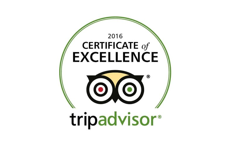 TripAdvisor Cettificate of Excellence
